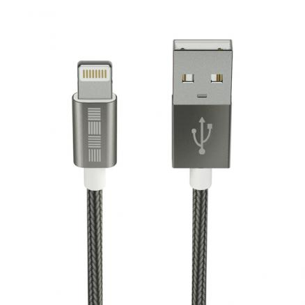 Кабель для iPod, iPhone, iPad InterStep (USB-Lightning(8pin) Mfi TPE Space Gray 2m)