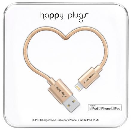 Кабель для iPod, iPhone, iPad Happy Plugs (9930 Lightning - USB зарядный, Champagne)