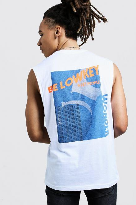 Drop Armhole Tank With Back Graphic Print