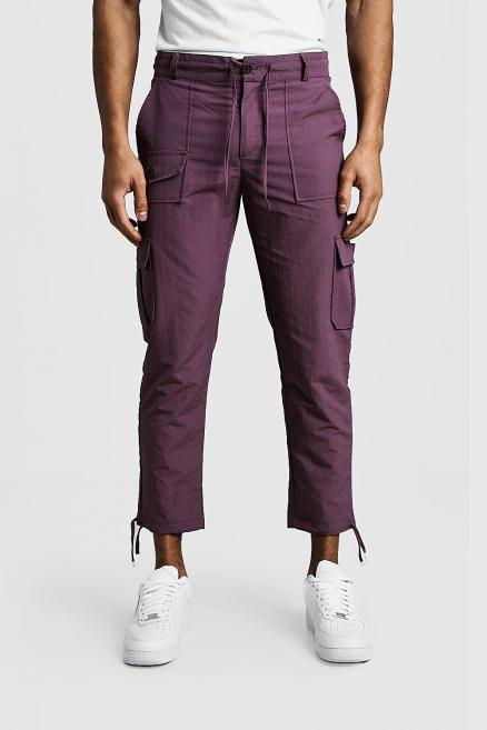Cropped Cargo Trousers With Utility Pocket