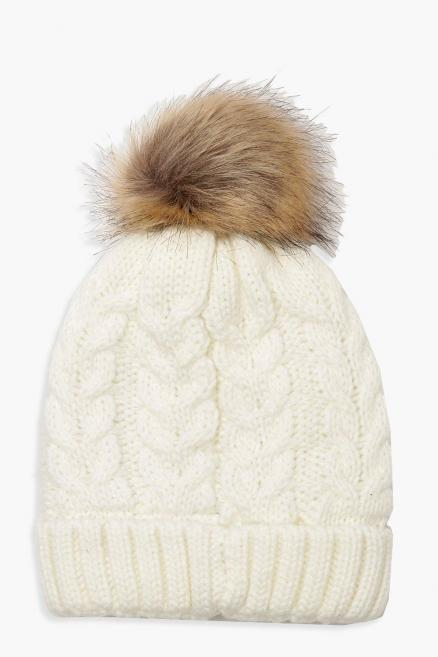 Chevron Knit Faux Fur Pom Beanie