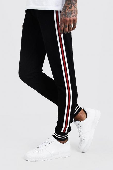 Jersey Cuffed Joggers With Side Tape