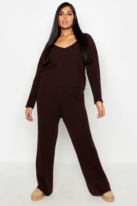 Plus Premium Knitted Rib V-Neck Lounge Set