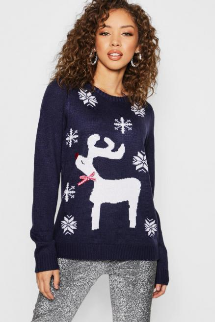 Christmas Jacquard Jumper With Woven Bow
