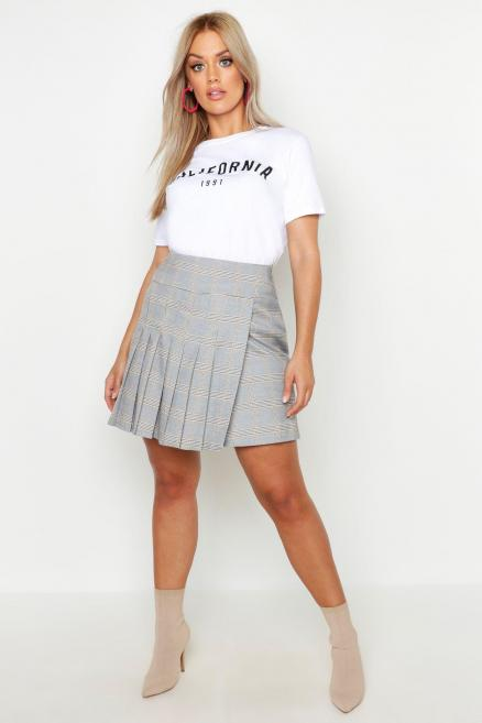 Plus Pleated Check Skirt