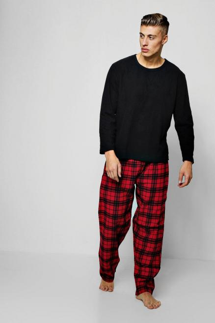 Flannel Check Pants With Fleece Top Set