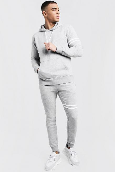 Hooded Tracksuit With Contrast Stripes