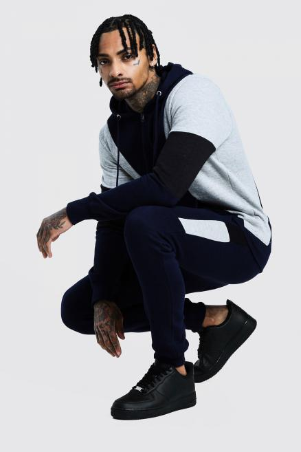 Contrast Panel Zip Hooded Tracksuit
