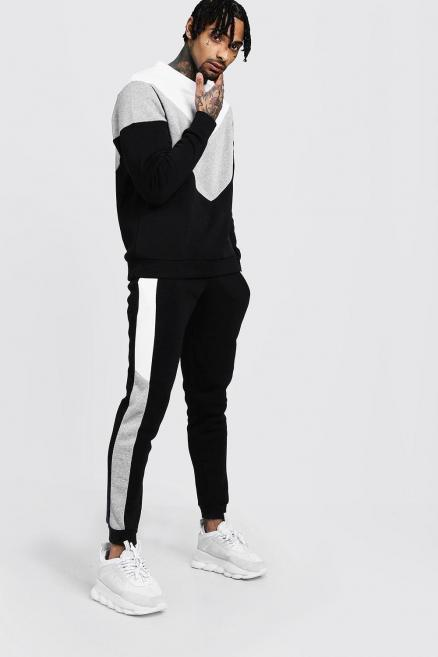 Chevron Colour Block Sweater Tracksuit