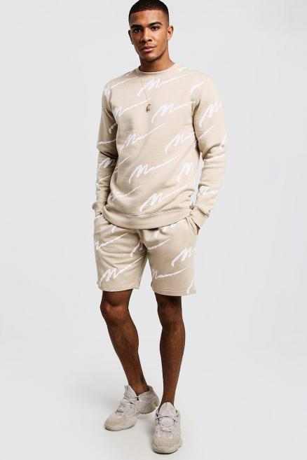 All Over MAN Print Sweater Short Tracksuit
