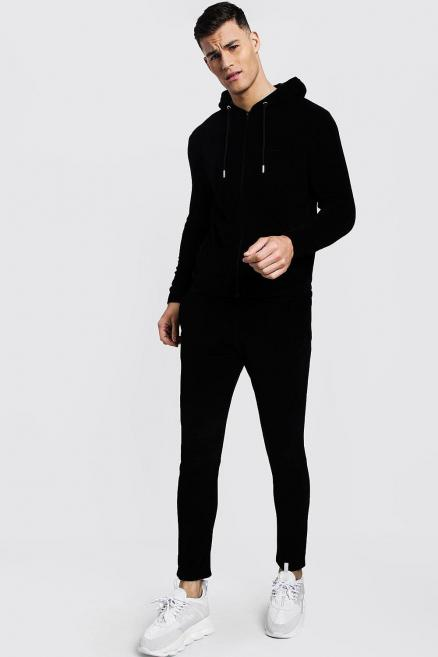 MAN Signature Velour Zip Hooded Tracksuit