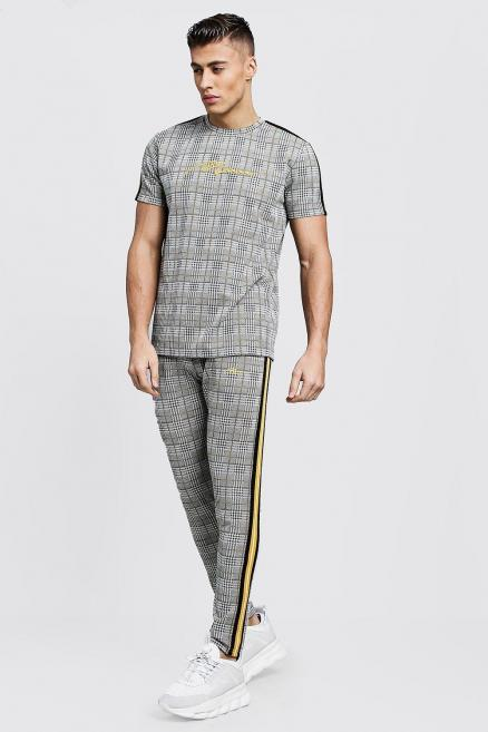MAN Signature Check T-Shirt Tracksuit With Tape