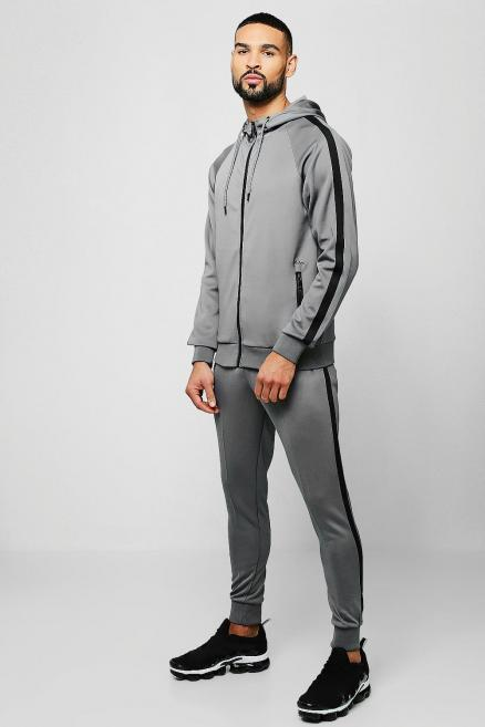Colour Block Tricot Zip Through Tracksuit With Tape
