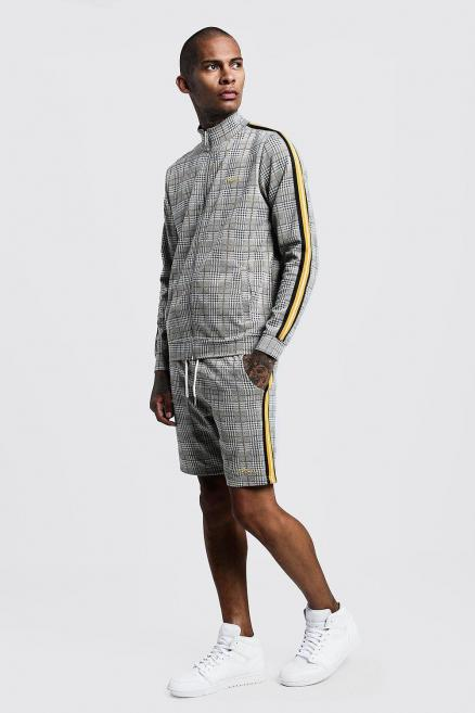 MAN Signature Check Funnel Neck Short Tracksuit
