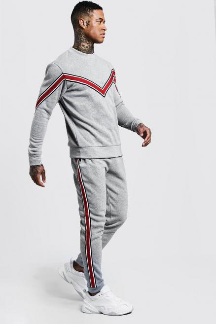 Chevron Tape Detail Sweater Tracksuit