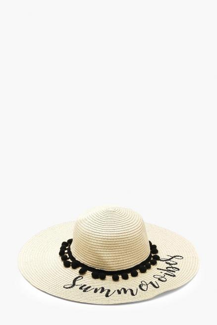 Slogan And Pom Pom Floppy Straw Hat