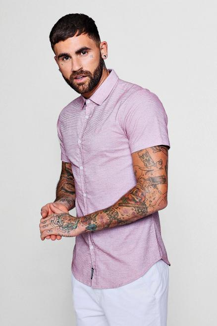 Short Sleeve Horizontal Stripe Shirt In Muscle Fit