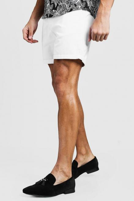 Mid Length Slim Fit Chino Short In White