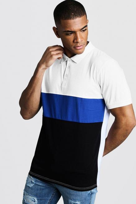 Muscle Fit Short Sleeve Colour Bock Polo