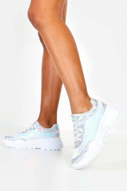 Sequin Panel Chunky Sole Lace Up Trainers