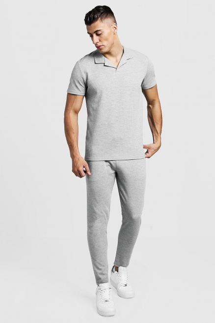 Revere Collar Polo And Cropped Jogger Twin Set