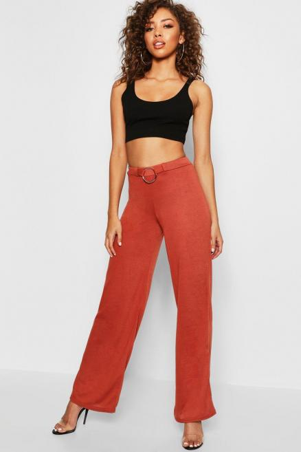 O Ring Detail Knitted Trouser