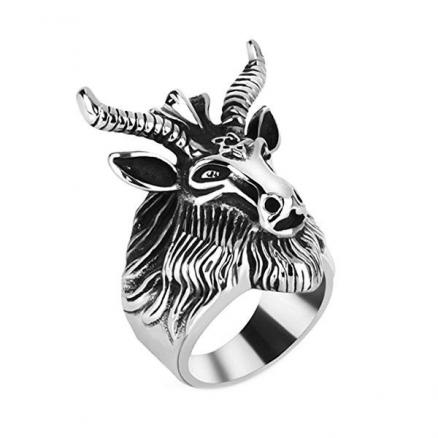 Men's Stainless Steel Satan Star of David Ram Worship Baphomet Goat Head Ring (DJA-539507)