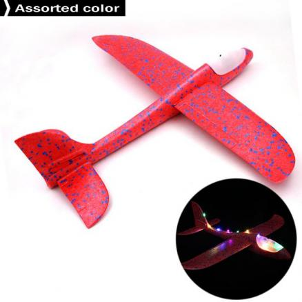Brave Tour Throwing Glider Inertia Plane with Led Lights Night Aircraft Toy (HHI-557540)