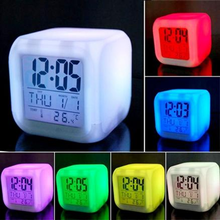7 Color LED Changing Digital Alarm Clock Thermometer Night Glowing Cube (HHI-533140)