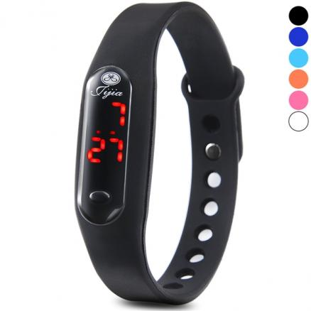 Unisex Rubber Band Red LED Watch Date Sports Digital Wrist Watch (WWT-476212)