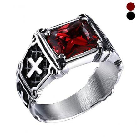 Men's Vintage Ruby Titanium and Stainless Steel Cross Ring Jewelry Size 7-10 (DJA-543464)