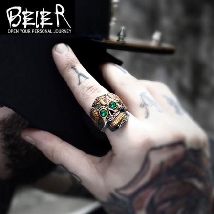 Men's Ghost Skull Titanium Steel Cross Ring Personalized Vintage Ring Jewelry (HHI-542179)