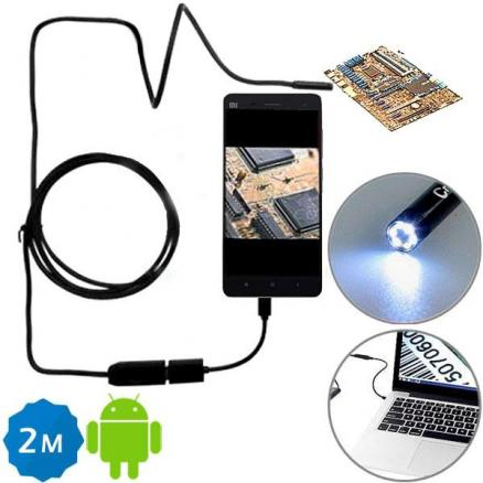 2M 6 LED 7mm Lens IP67 USB Endoscope f Android Smartphone and PC (EPA-503278)