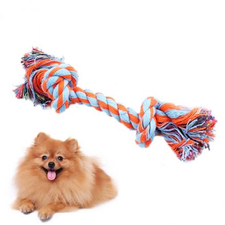 Puppy Chew Teething Rope Toys Mini Double Knot Cotton Rope For Small Dogs (HPI-541165)
