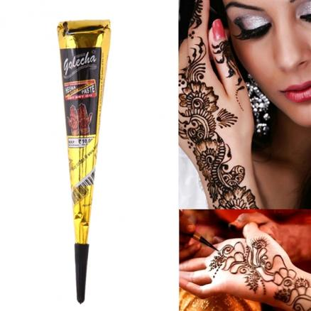 Temporary Indian Henna Tattoo Paste Cone for Body Art Drawing - Black (HHI-544950)