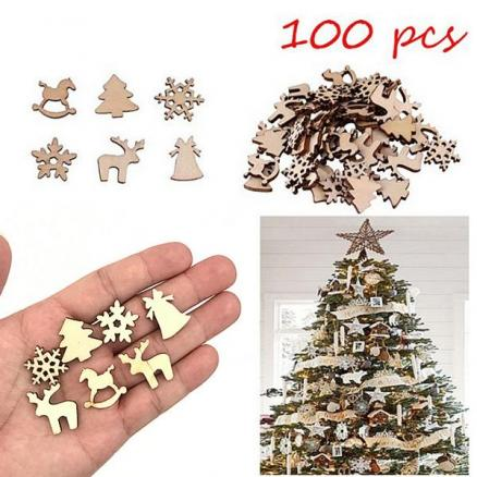 100PCS Wooden Christmas Tree Unfinished Slices (HHI-559906)