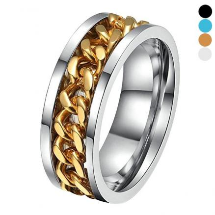 Men's Stainless Steel Black Ring Chain Spinner Silver Gold Color Ring Size 7-10 (DJA-543379)