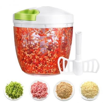 Hand-Powered Food Chopper Vegetable Mincer Blender Speedy Shredder & Slicers (HKI-532596)