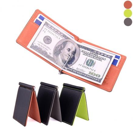 PU Ultra Slim Mens Womens Money Clip Leather Wallet Credit Card Holder Pouch (HHI-542127)