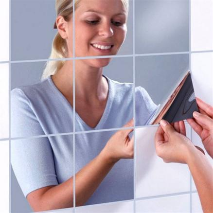 1/2 Set of Square Mirrors Mosaic Tiles Self Adhesive Reflective Mirror Stickers (HHI-532370)