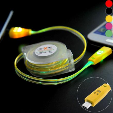 37 inch Retractable Micro USB Charge/Sync Colorful Light Cable (EPACB-468956)