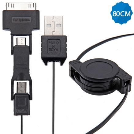 80cm 3-in-1 Retractable USB Data Cable for Samsung iPhone 4S (EPACB-433715)