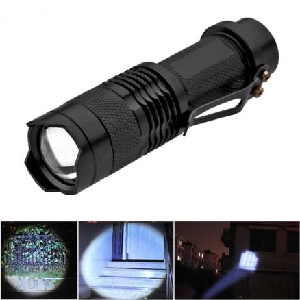 SK68 CREE Q5 3W 3-Mode Zoom LED Flashlight Torch with Clip (FLD-34942)