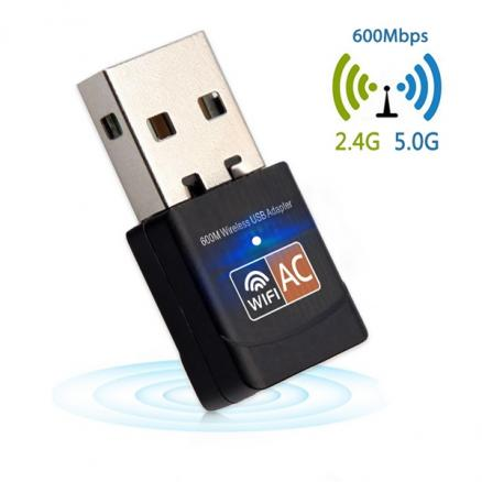 600Mbps USB WiFi Adapter 2.4GHz 5GHz Mini Wireless Network Adapter f/ PC Laptop (STH-546197)