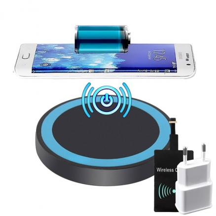 Wireless Charger w/ Wireless Receiver Wall Charger f Smartphone (KB-512083)