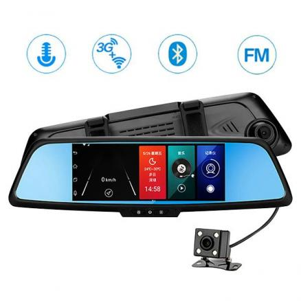 3G Dash Cam 7.0 inch Touch Car DVR 16GB Dual Lens Android Car Rearview Mirror (RGP-543999)