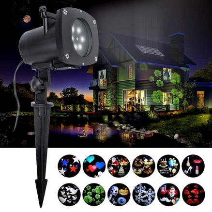 12 Pattern Projector Light Sparkling Landscape Light on Christmas Halloween (HLT-533699)