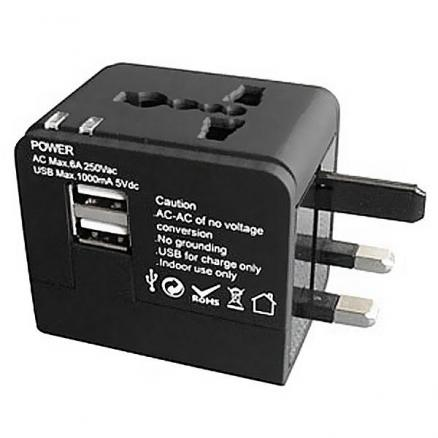 Worldwide All in One Travel Power Plug Adapter with Dual USB Ports (E-516982)