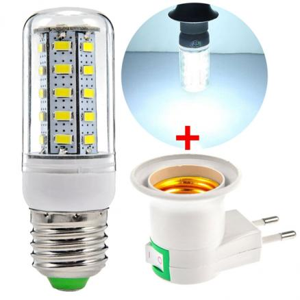 E27 Base Socket EU Plug + 220-240V E27 1100LM SMD 5630 Natural White Corn Bulb (KB-533100)
