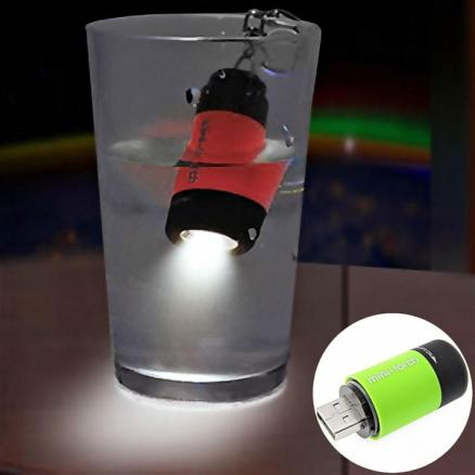 Mini USB Rechargeable LED Flashlight Waterproof Torch with Keychain (STH-386687)